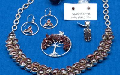Red Garnets in Silver