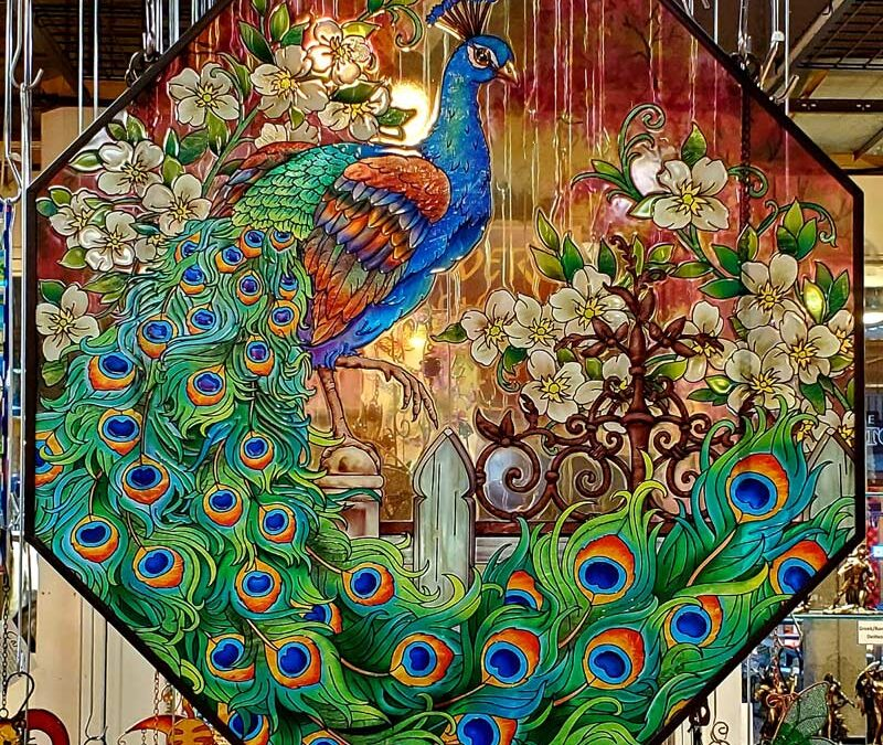 Glass Peacock Panel