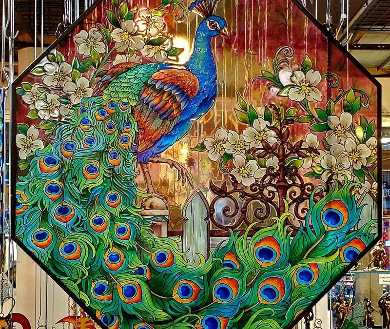 Glass Peacock Panel